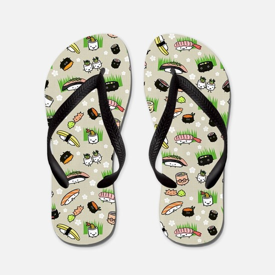 Sushi Characters Pattern Flip Flops
