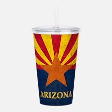 Grunge Arizona Flag Acrylic Double-wall Tumbler
