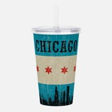 Vintage Chicago Skyline Acrylic Double-wall Tumble