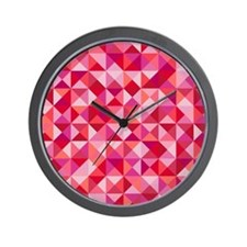 Red & Pink Triangles Wall Clock