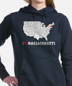 I Love Massachusetts Women's Hooded Sweatshirt