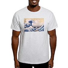 Ukiyoe Hokusai Wave Ash Grey T-Shirt