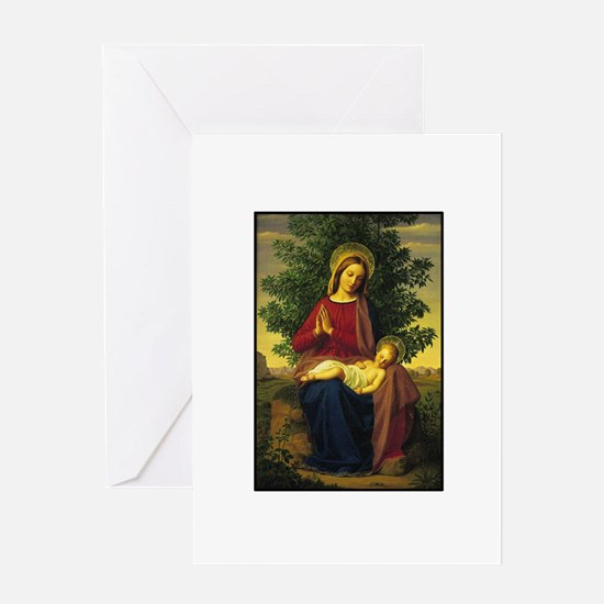 Mother Mary Prayin Greeting Cards