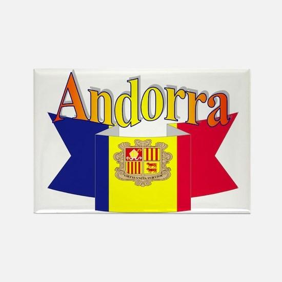 Andorra flag ribbon Rectangle Magnet