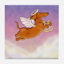 Red Doxie Angel Tile Coaster