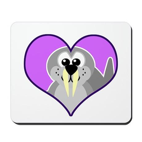 Cute Walrus Goofkins in Heart Mousepad