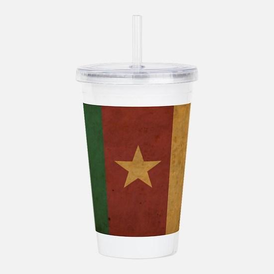 Vintage Cameroon Flag Acrylic Double-wall Tumbler