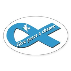 Peace Dove Ribbon Oval Decal