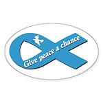 Peace Dove Ribbon Oval Sticker