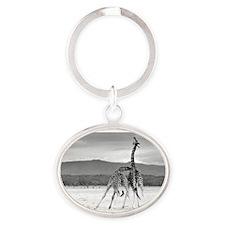 Necking Giraffes Oval Keychain