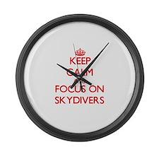 Cute Skydiv Large Wall Clock
