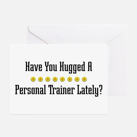 Hugged Personal Trainer Greeting Cards (Package of