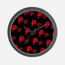 Red rose pattern Wall Clock