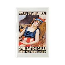 Wake Up America Patriotic Vin Rectangle Magnet