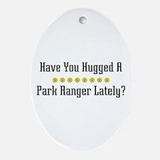 Hugged Park Ranger Oval Ornament