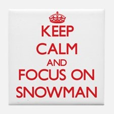 Funny Snowman keep calm Tile Coaster