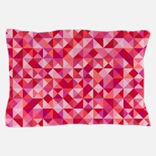 Red & Pink Triangles Pillow Case