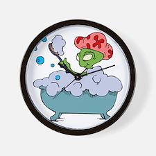 Alien in bubble bath Wall Clock