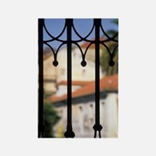 Lisbon. Palms and red-roofed buil Rectangle Magnet