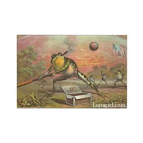 Vintage Frogs Baseball Rectangle Magnet