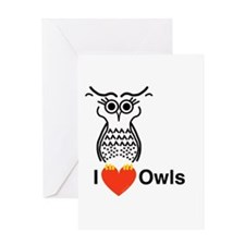 I Love Owls Greeting Cards