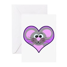 Cute Goofkins Mouse in Heart Greeting Cards (Packa