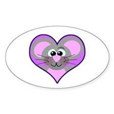 Cute Goofkins Mouse in Heart Oval Decal