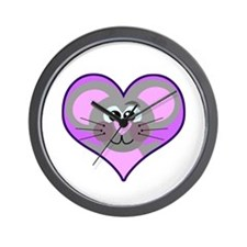Cute Goofkins Mouse in Heart Wall Clock