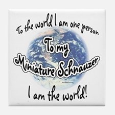 Mini Schnauzer World2 Tile Coaster