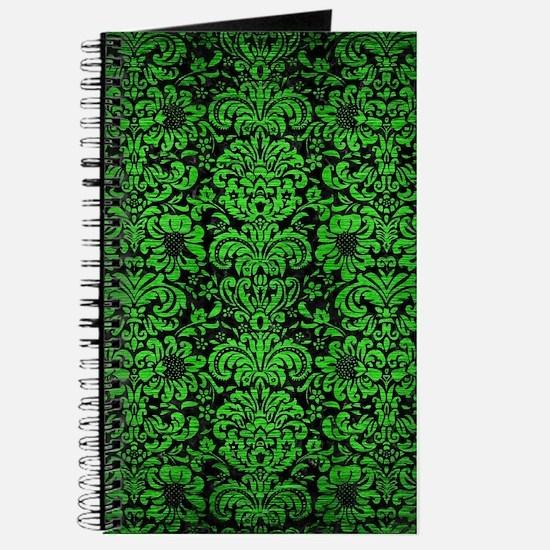 DAMASK2 BLACK MARBLE & GREEN BRUSHED METAL Journal