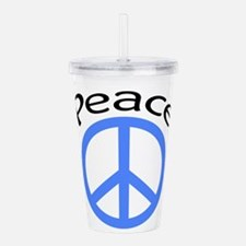 light blue peace symbol with word.PNG Acrylic Doub