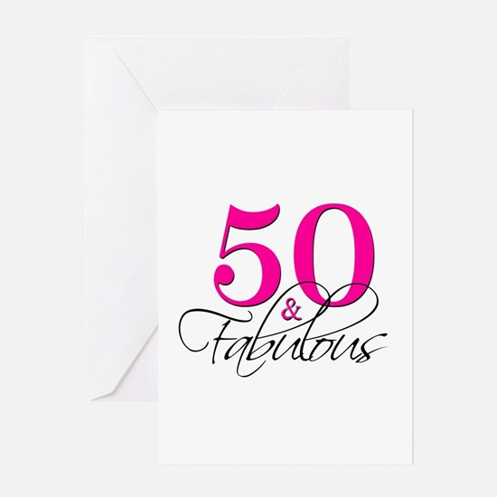 50 and Fabulous Pink Black Greeting Cards