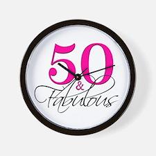 50 and Fabulous Pink Black Wall Clock
