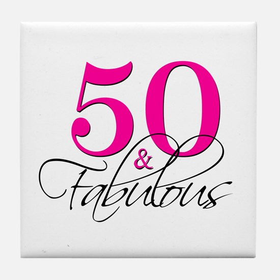 50 and Fabulous Pink Black Tile Coaster
