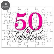 50 and Fabulous Pink Black Puzzle