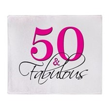 50 and Fabulous Pink Black Throw Blanket