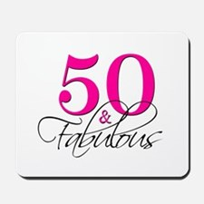 50 and Fabulous Pink Black Mousepad