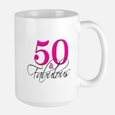 50 and Fabulous Pink Black Mugs