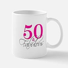 50 and Fabulous Pink Black Mugs
