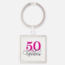 50 and Fabulous Pink Black Keychains