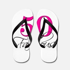 50 and Fabulous Pink Black Flip Flops