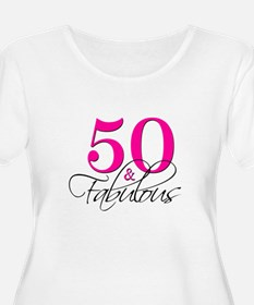 50 and Fabulous Pink Black Plus Size T-Shirt