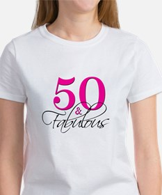 50 and Fabulous Pink Black T-Shirt