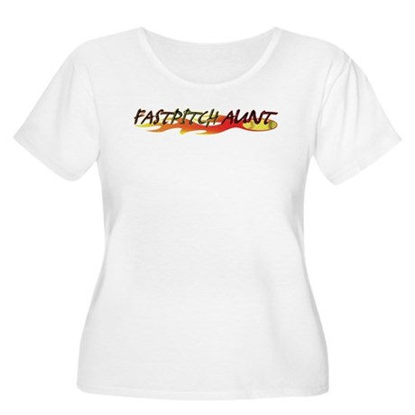 Fastpitch Aunt Women's Plus Size Scoop Neck T-Shir