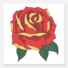 "Red Rose Square Car Magnet 3"" x 3"""