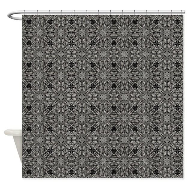 Charcoal Grey Weave Shower Curtain By Zaryaparxstudio