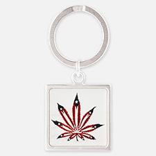 PR Weed Leaf Square Keychain