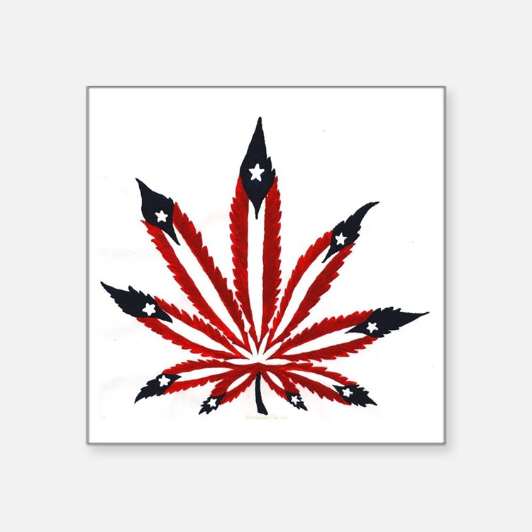 "PR Weed Leaf Square Sticker 3"" x 3"""