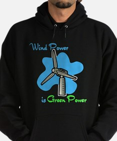 wind power is green power with windmill & blue sky