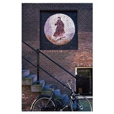 Bicycle at the base of a staircasesterdam, bicycle Poster